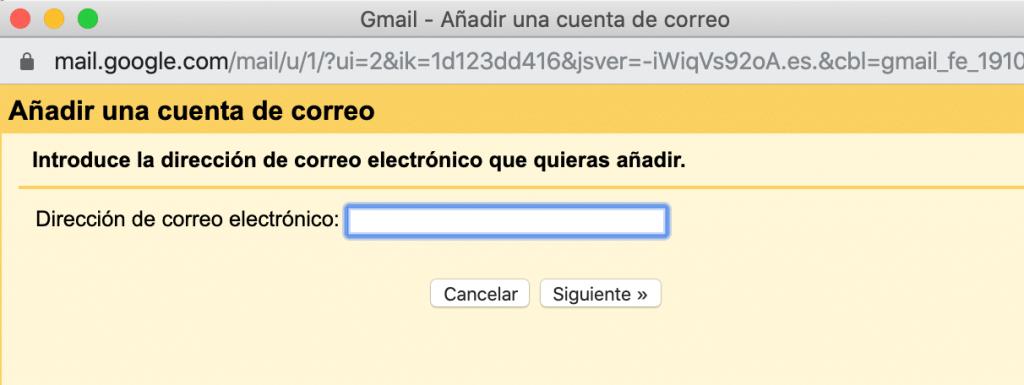 Configurar email corporativo - 2 añadir cuenta ventana emergente