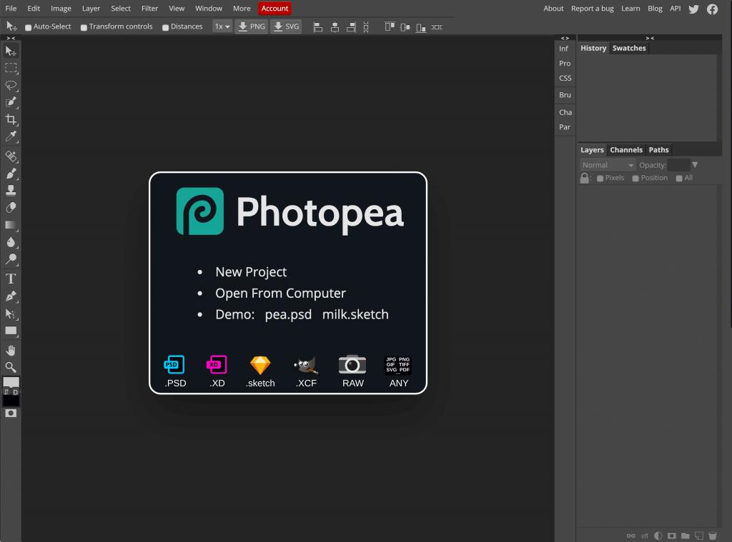 photopea - Editor fotografía online gratuito