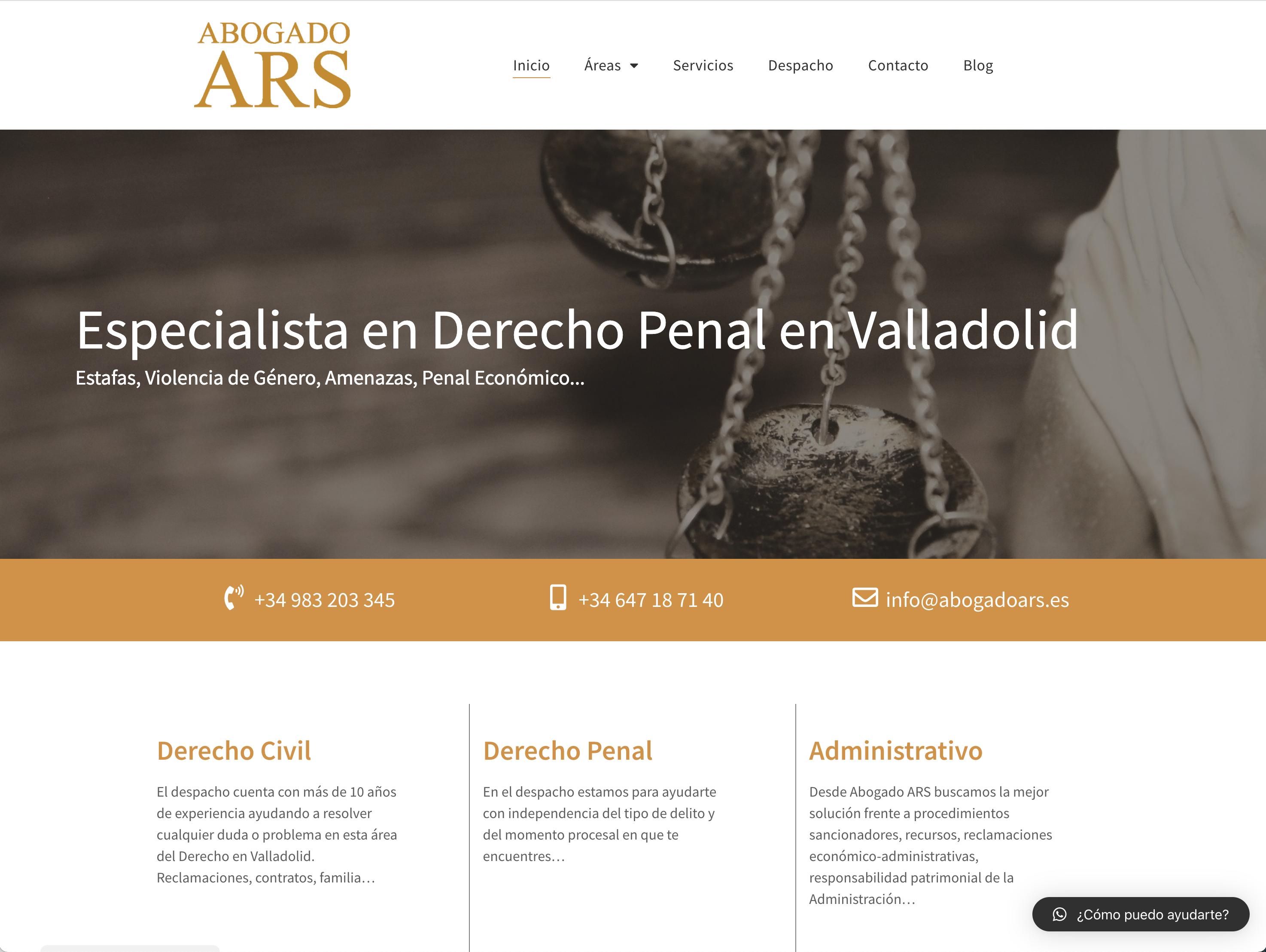 Desarrollo y optimización web - Home Abogado ARS