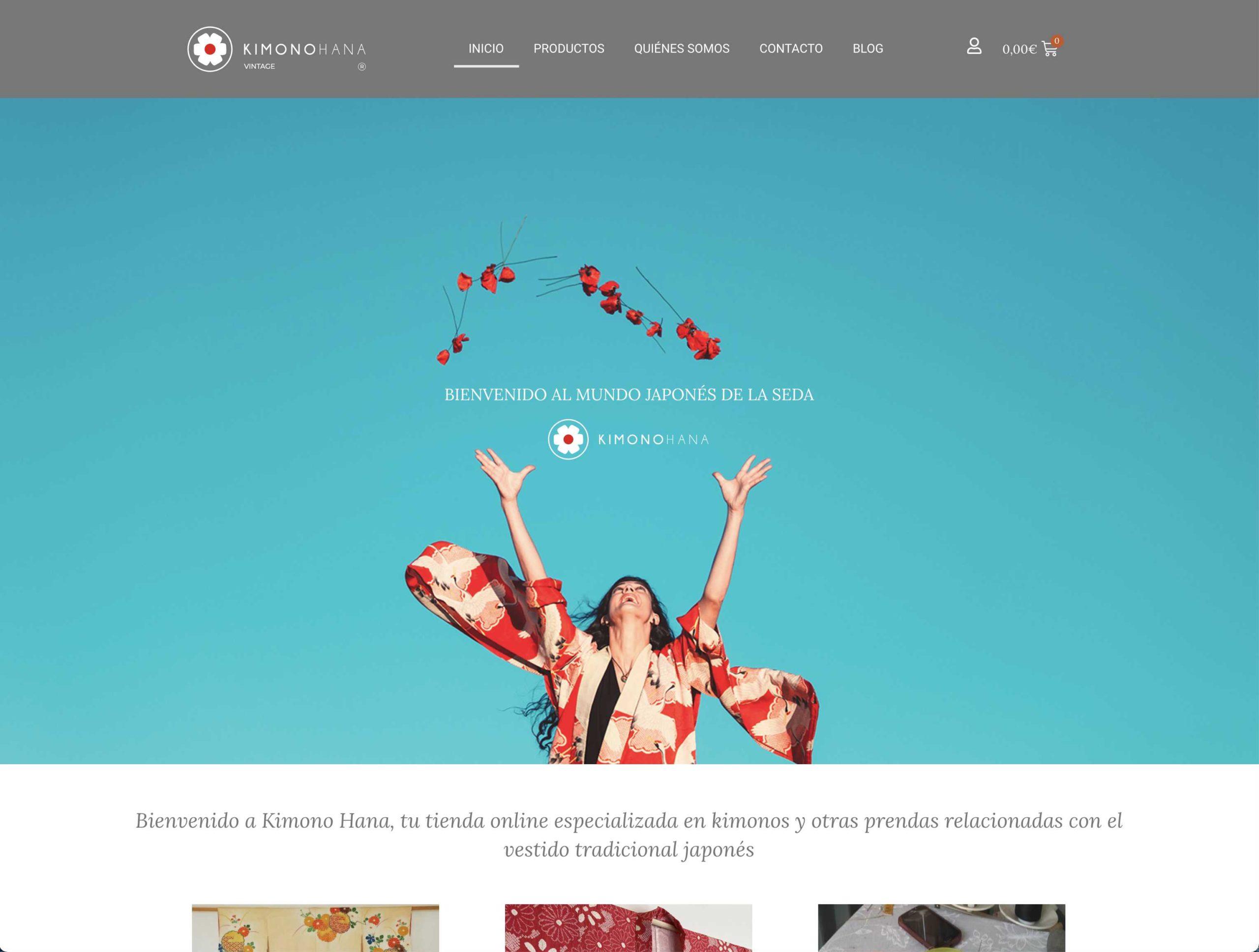 diseño y desarrollo de página web kimonohana.com